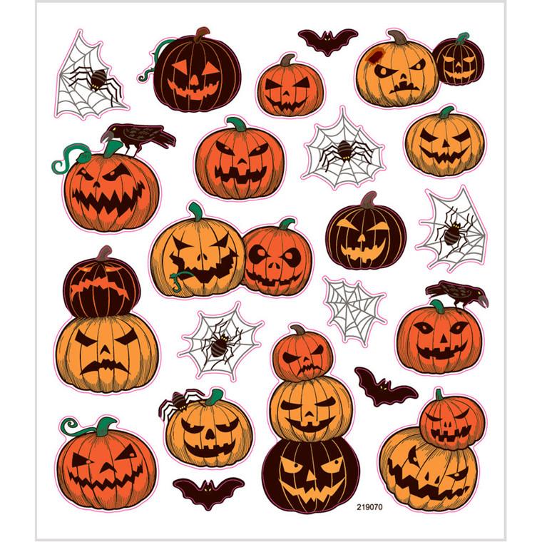 Græskar stickers - Halloween klistermærker, ark 15 x 16,5 cm, 1 ark