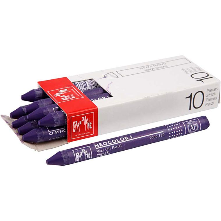 Caran d'Ache Neocolor 1, violet, 10 stk.
