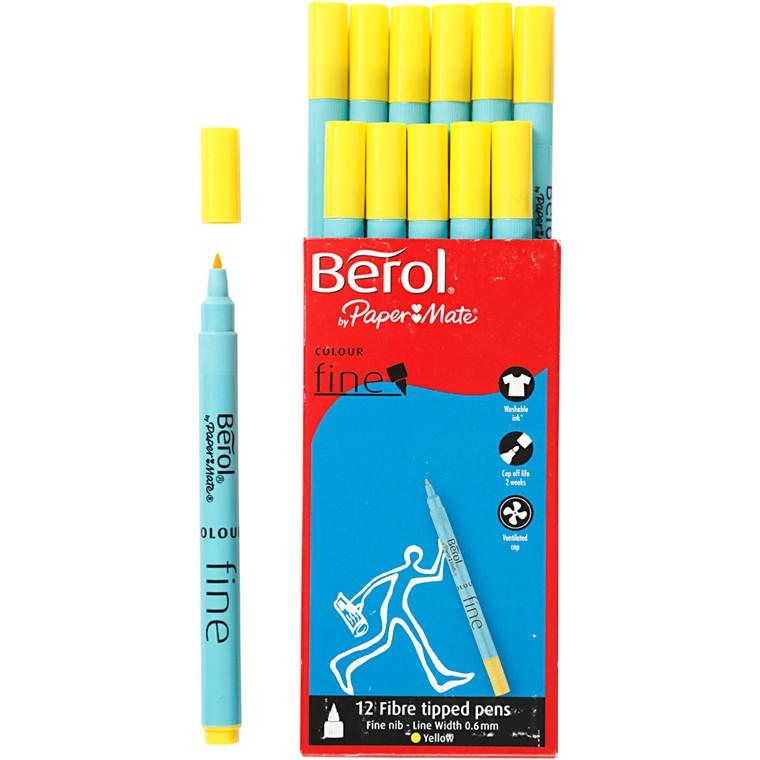 Berol Colourfine gul 12 stk.