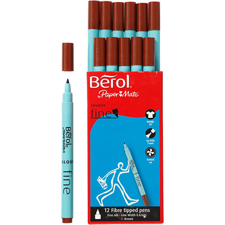 Berol Colourfine brun 12 stk.