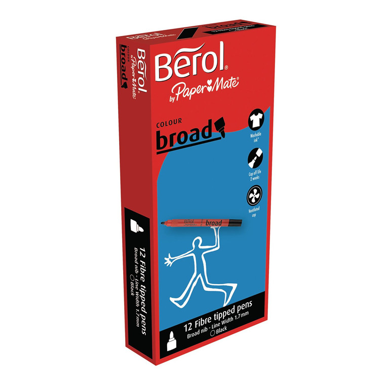 Berol Colourbroad - 12 stk., Sort