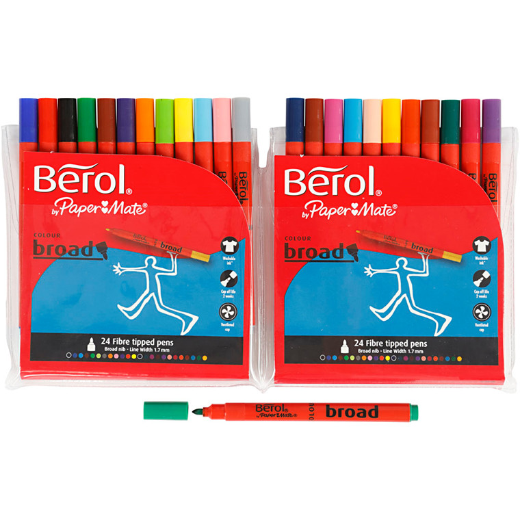 Berol Colourbroad, 1,7 mm streg, 24 ass.