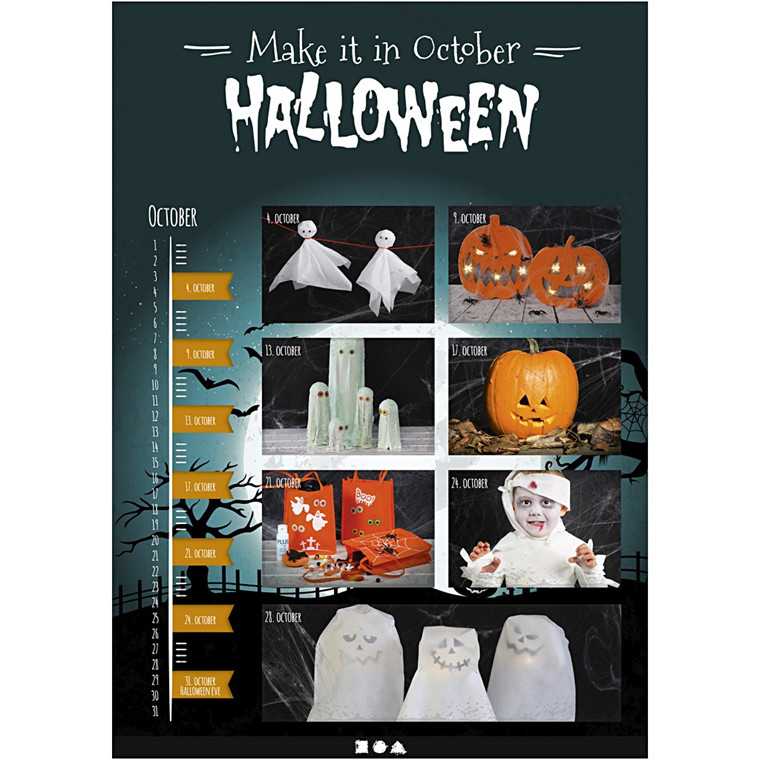 Halloween inspirationshæfte - Str. 17 x 24 cm, 1 stk.