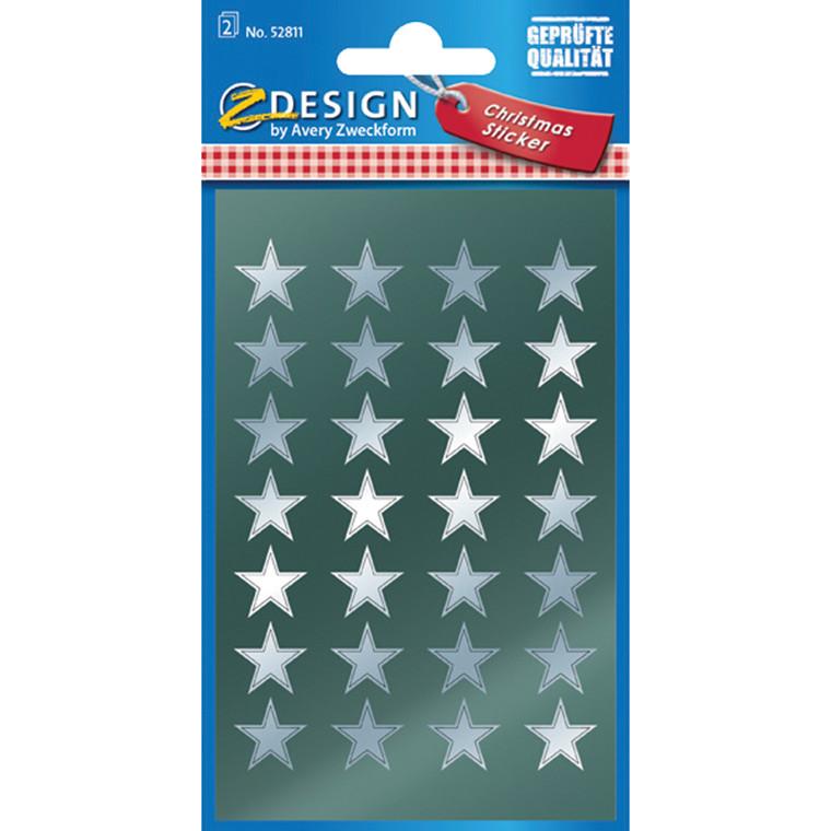 Stickers Stjerne sølv 56 stk.