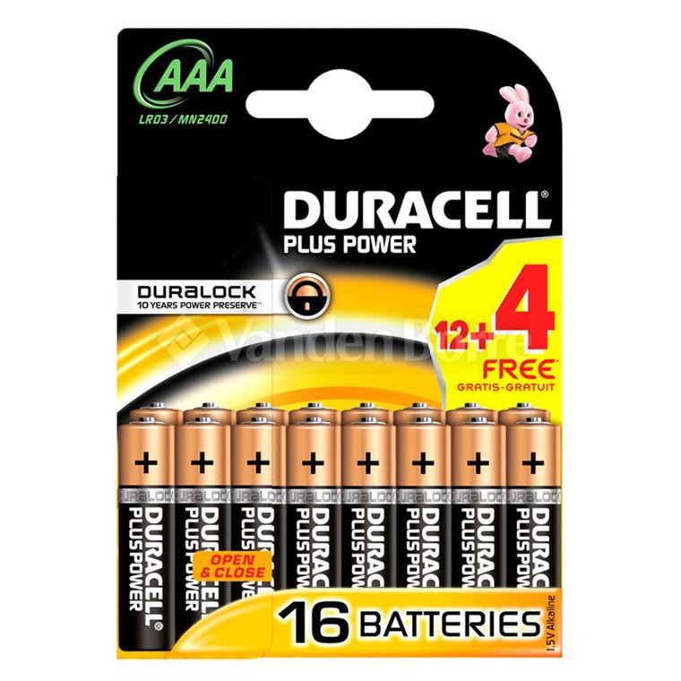 Duracell Batterier  AAA 12+4 stk.