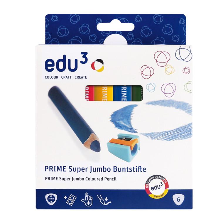 Edu3 Prime Super Jumbo Farveblyanter 6 stk. + spidser