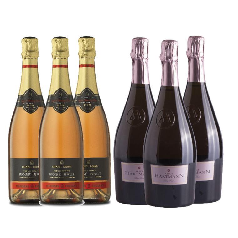 Mousserende Rosé vin - Smagekasse med 2 forskellige pink bobler