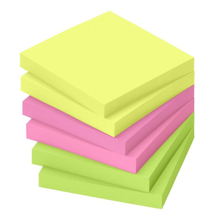Selvklæbende blokke (Notes) 75 x 75 mm. i neonfarver, 6 blokke