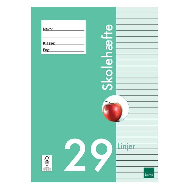 Nova Skolehæfte A4 29 linjer 80 gram 25 stk. *