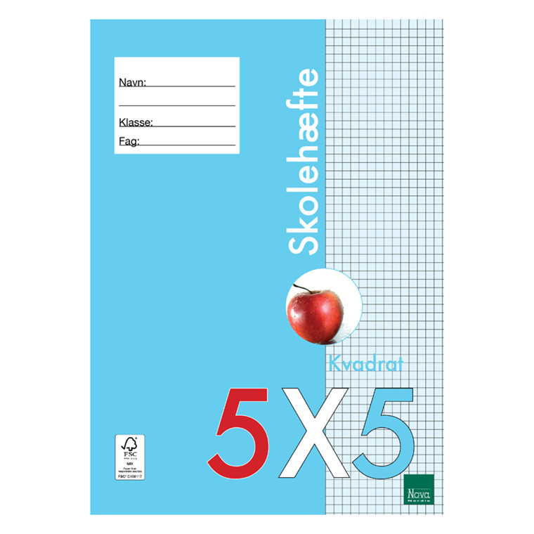 Nova Skolehæfte A4 5 x 5 80 gram 25 stk. *