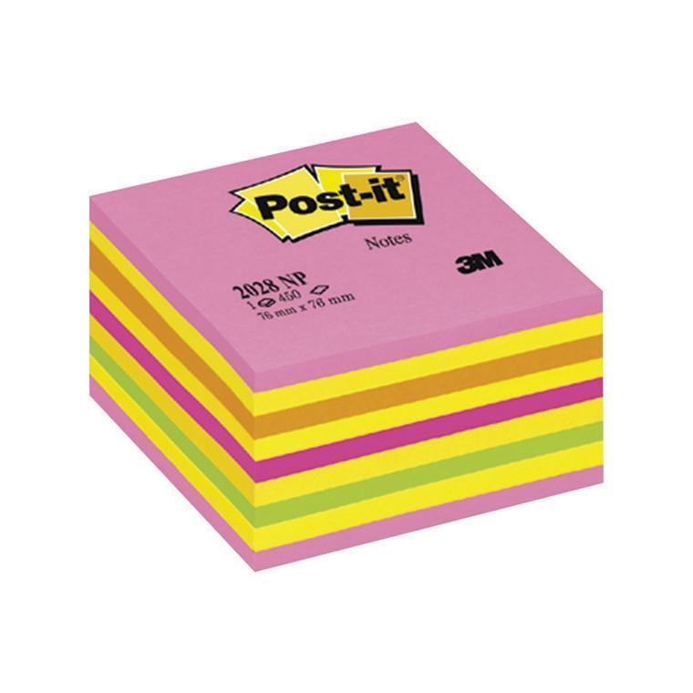 Post-it Cube i neonfarver 76 x 76 mm. 450 blade