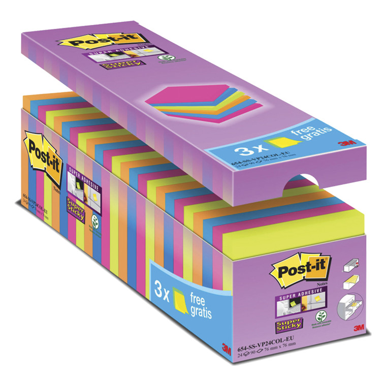 Post-it Super Sticky notes 76 x 76 cm. 24 blokke