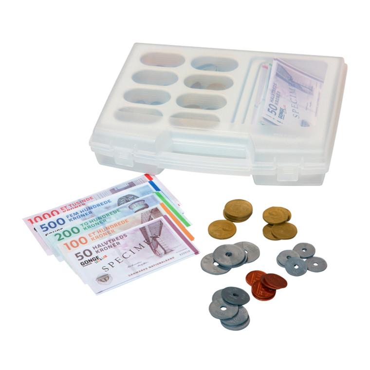 Blandede mønter og sedler i æske
