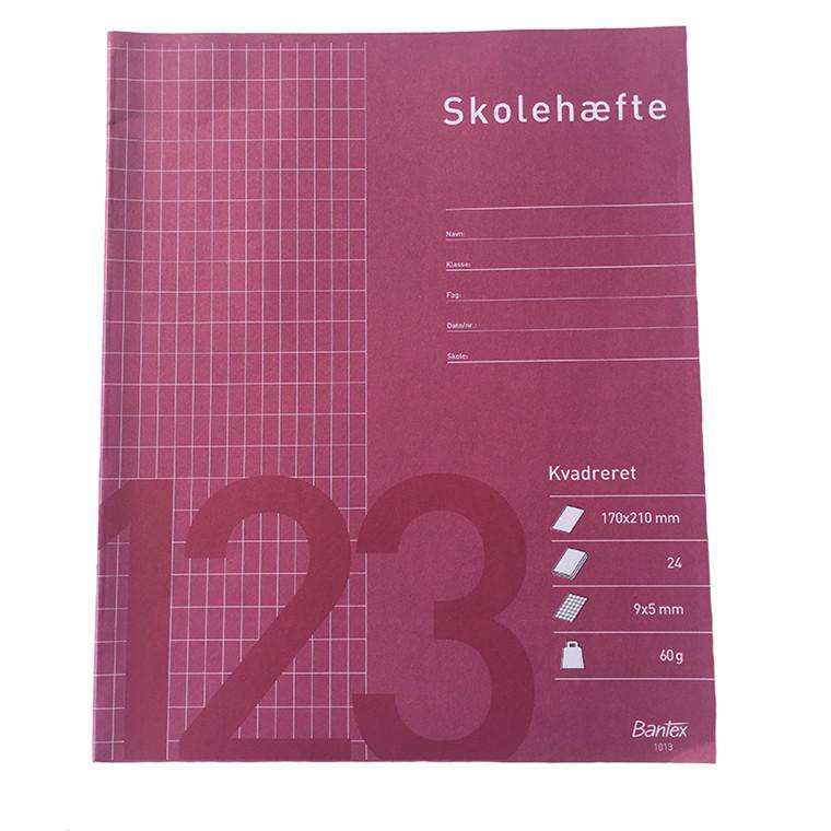 Skolehæfter, 17 x 21 cm - 9 x 5 mm kvadrat, 24 blade