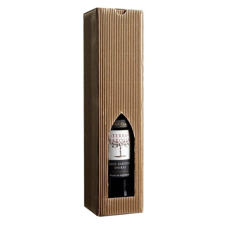 Vinkarton til 1 flaske brun åben bølge