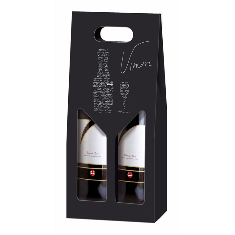 Vinkarton til 2 flasker mørk lilla/sort