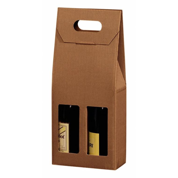 Vinkarton til 2 flasker brun åben bølge
