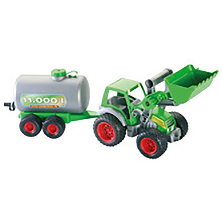 Traktor m. anhænger, plast, L: 50 cm