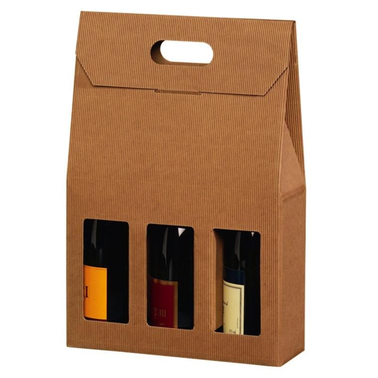 Vinkarton til 3 flasker brun åben bølge