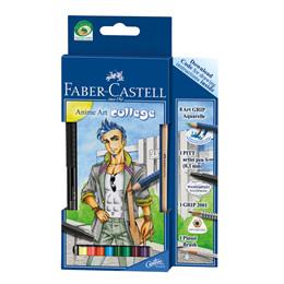 Faber-Castell Akvarel Tegnesæt - 8 farveblyanter + pensel+blyant+fiberpen