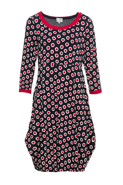 Charles Design Frida dress, Red Marine Dot