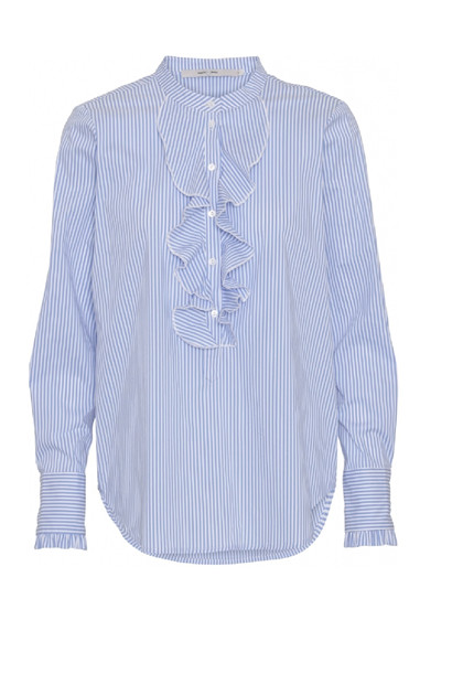 Costamani Sanne blouse, Blue white stripe frill