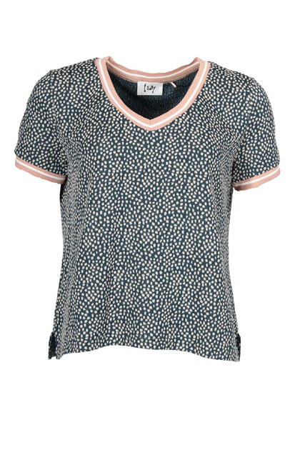 Isay CANNIE V-Neck T-Shirt, Powder Dot