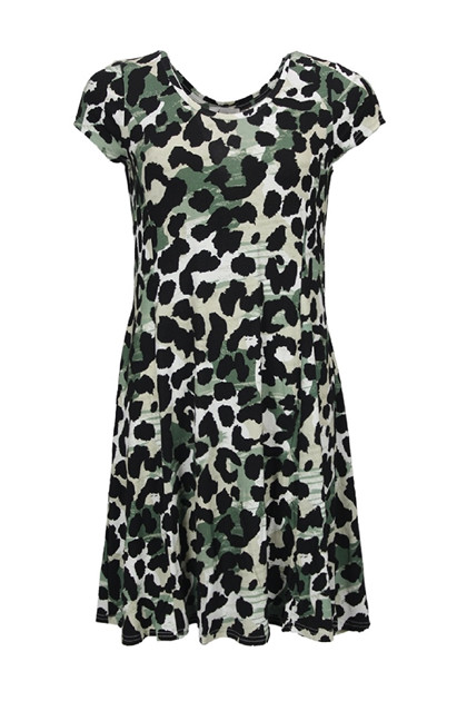 Isay KALLA Jersey Dress, Green Animal