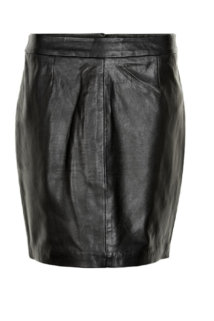 Fransa Raleather 1 Skirt Lamb leather, Black