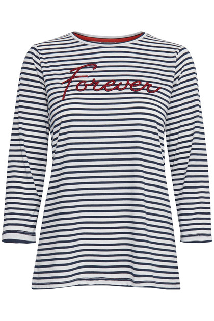 Fransa FRHISTRIPE 1 T-shirt, Dark Peacoat mix