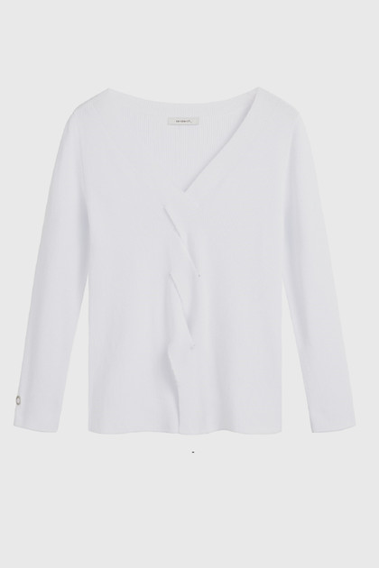 Sandwich Pullover Long Sleeves SW1340, Pure White