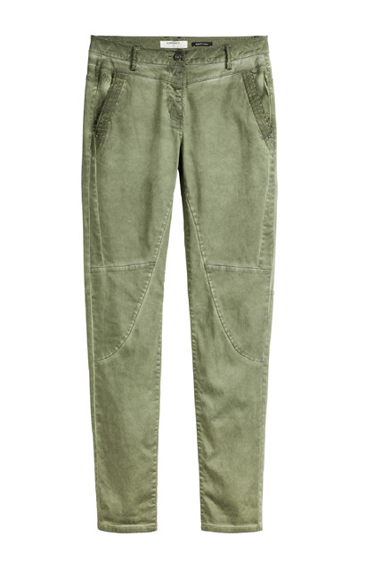 Sandwich Trousers Casual Long, Spring Olive