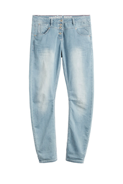 Sandwich Trousers Casual Long SW1338, Medium Blue Denim