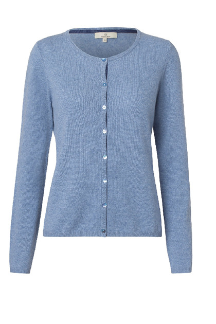 Charlotte Sparre CARDIGAN BUTTON 2593, Solid Blue