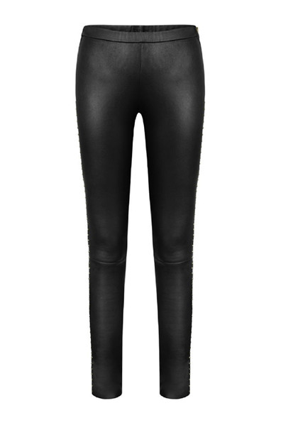 Depeche Leather Leggings w Studs Silver 50120, Black