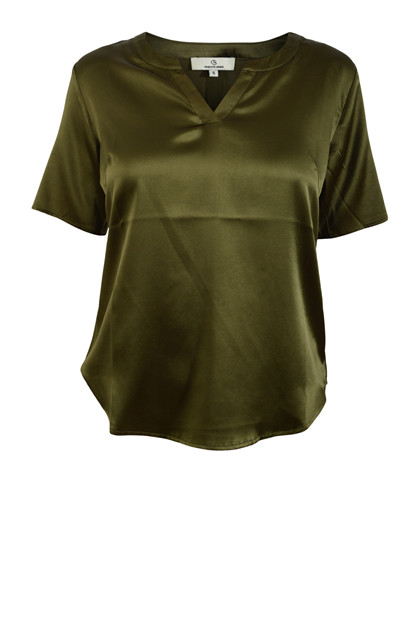 Charlotte Sparre THE ONE BLOUSE, Solid Satin Kaki