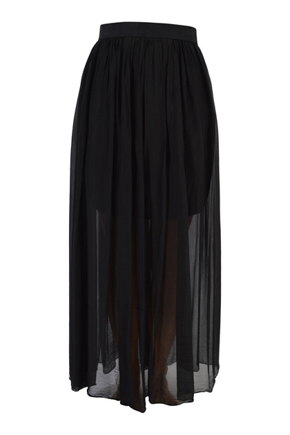 TIFFANY Silk skirt elastic, Black