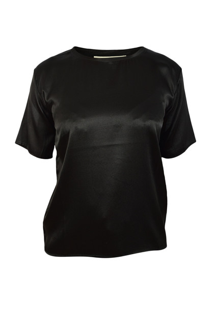 Charlotte Sparre Silk Tee Solid 2420, Black
