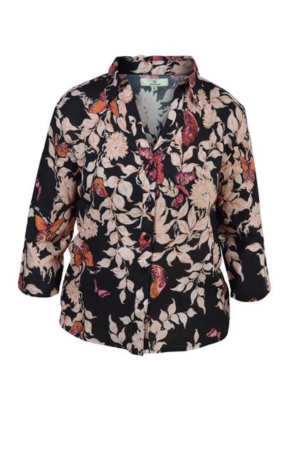 Charlotte Sparre Summer Shirt 2143, Bfly garden allover, Black