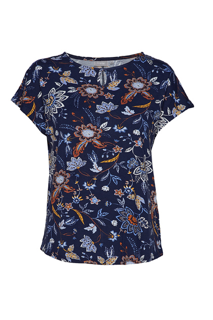 Fransa Fremdotton 1 t-shirt,  Flower - Maritime Blue