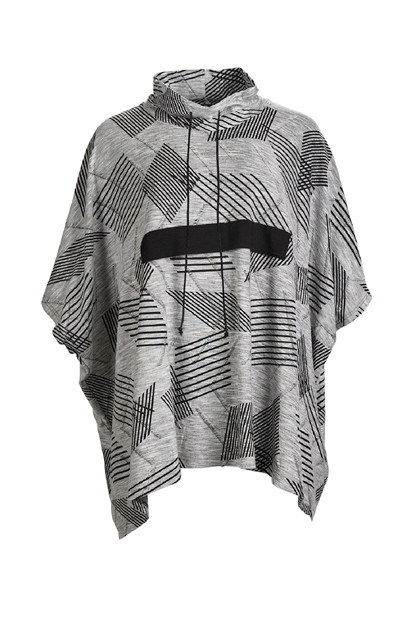 My Soul Jaquard  Poncho 0703, Black/Grey