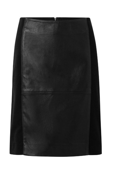 Depeche Leather Skirt w jersey 13628, Black
