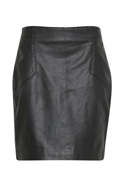 Fransa Asleather 1 Skirt, Black