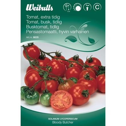 Tomat, busk, tidlig  - Solanum lycopersicum - Bloody Butcher - Frø (W8634)