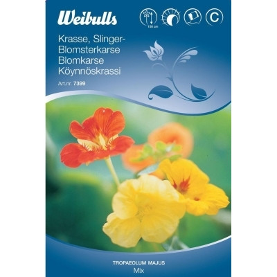 Blomsterkarse, enkel mix - Tropaeolum majus - Frø (W7400)