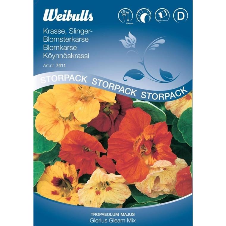 Blomsterkarse - Tropaeolum majus - Glorius Gleam Mix, Stor pose  - Frø (W7411)