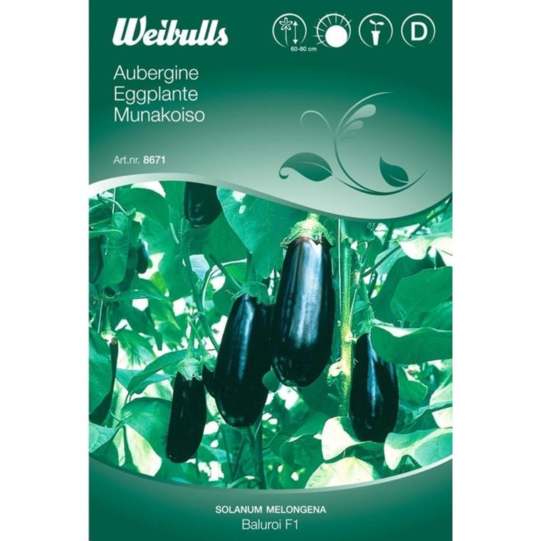 Aubergine - Solanum Melongena - Baluroui F1 - Frø (W8671)