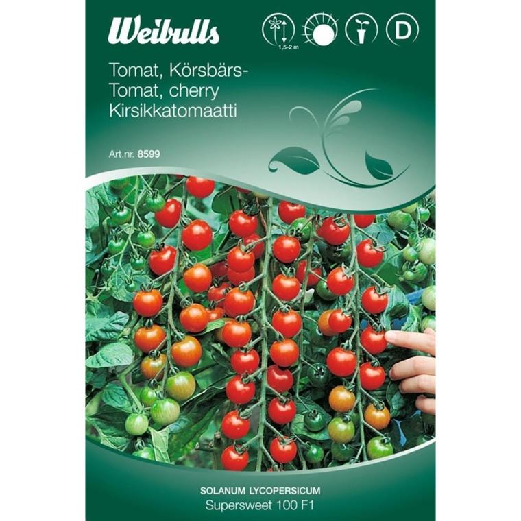 Tomat, Cherry - Solanum lycopersicum - Sweet 100 F1 - Frø (W8600)