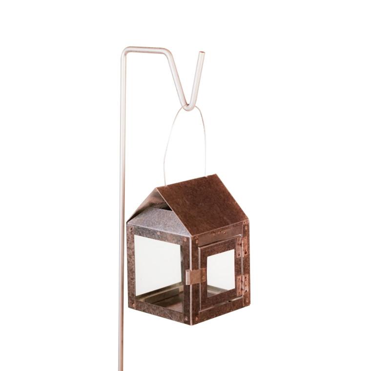 Hænge fyrfads lanterne med wire 8 x 8 x 12 cm