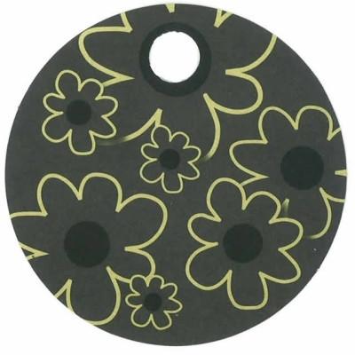 Rundt kort med blomster, sort